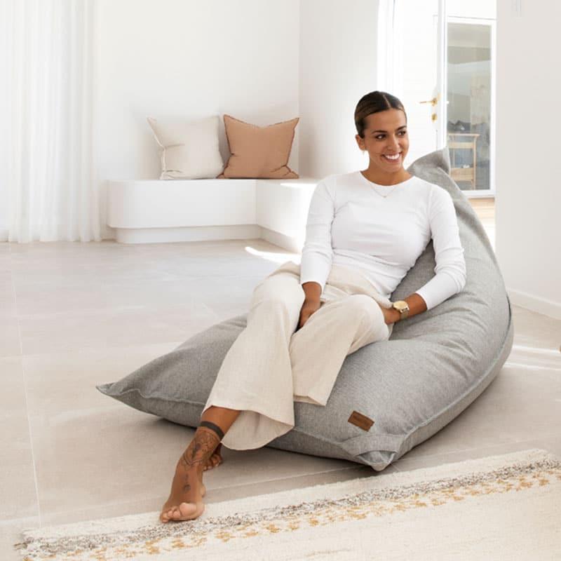 Komfort Triangle Designer Bean Bag | Grey | Adelaide Bean Bags Australia | Mooi Living
