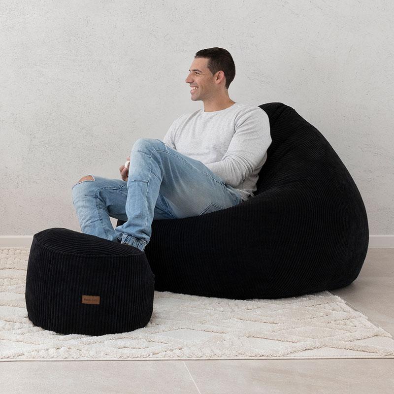 Sung Bean Bag   Corduroy   Black   Mooi Living