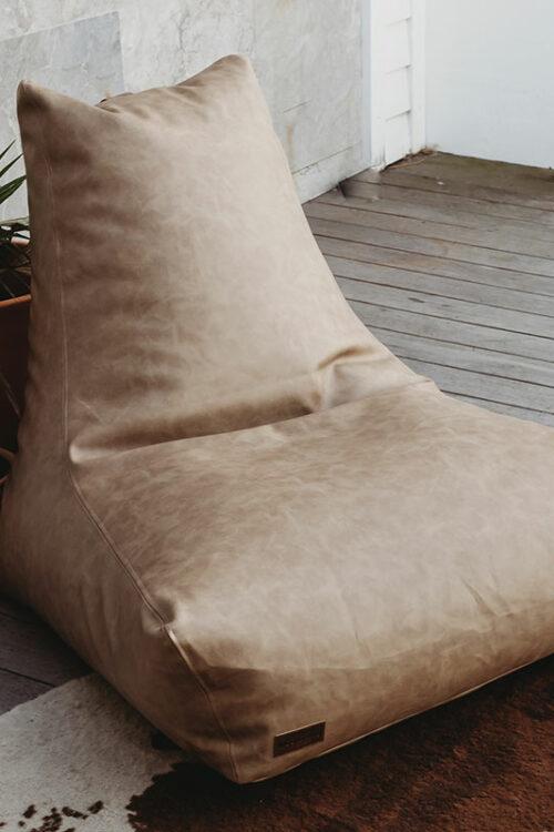 Brooklyn Faux Leather Bean Bags   Light Brown   Mooi Living