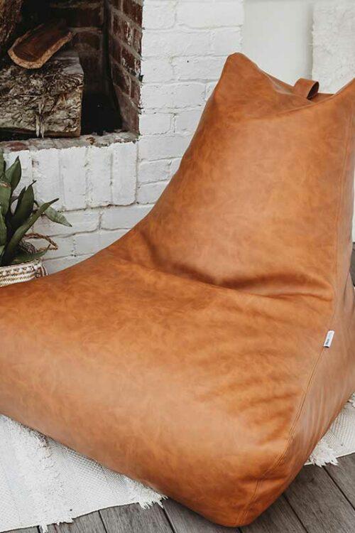 Brooklyn Faux Leather Bean Bags   Caramel Tan   Mooi Living