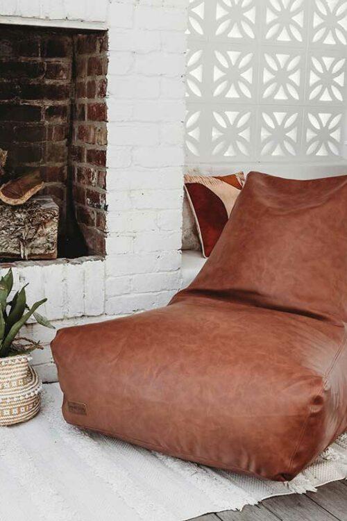 Brooklyn Faux Leather Bean Bags   Maple Brown   Mooi Living
