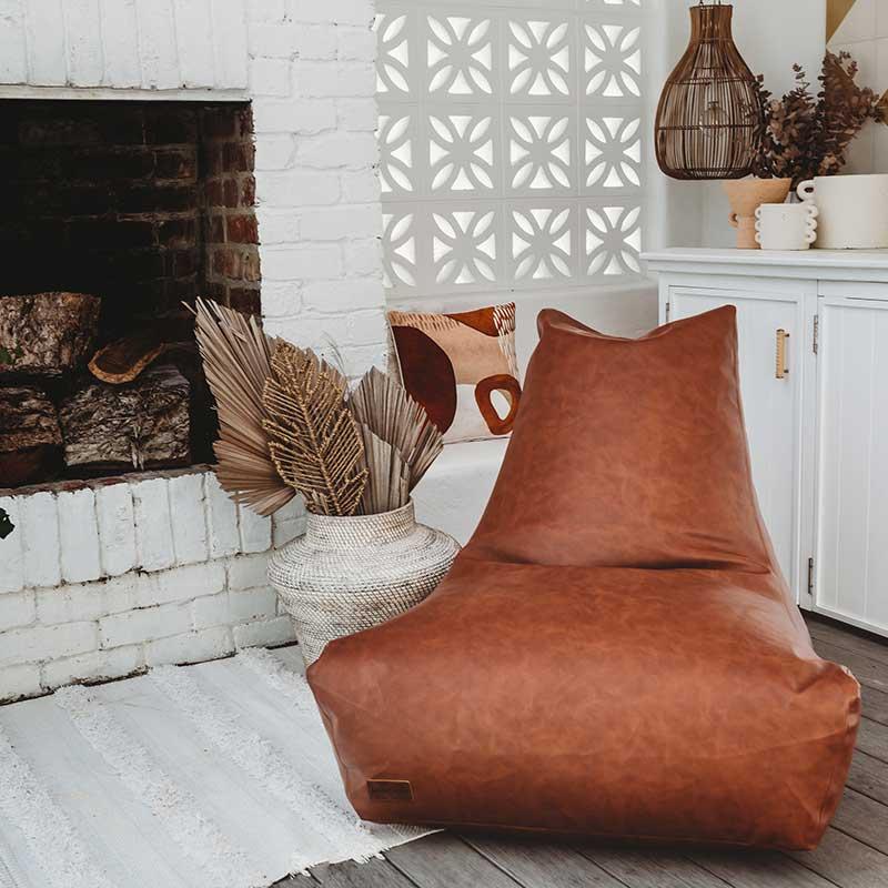 Brooklyn Faux Leather Bean Bags | Maple Brown | Mooi Living